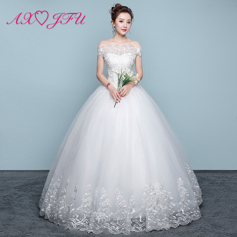 AXJFU Princess Boat Neck White Flower Lace Wedding Dress Vintage Ruffles Illusion Rose Flower Party Turkey White Wedding Dress
