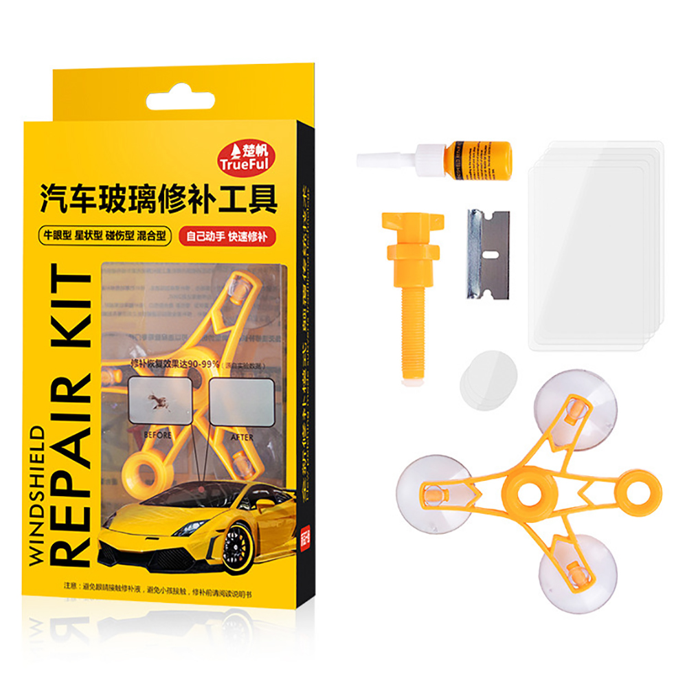 Set for repair of chips and cracks auto glass windshield repair kit, repair kit, removal of crack on glass, repair of auto glass
