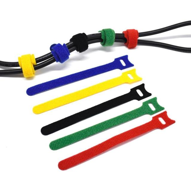 50 sztuk kot typ 12*150mm wędka pasek pasek Tie Hook drutu na zewnątrz Camping pętli i krawat Velcros kolarstwo klej E2Q6