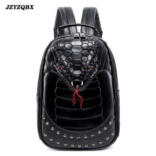 3D Stereoscopic Silicone Snake Head Backpack Mens Personality Rivets mochila Black Waterproof PU Leather Travel mochilas