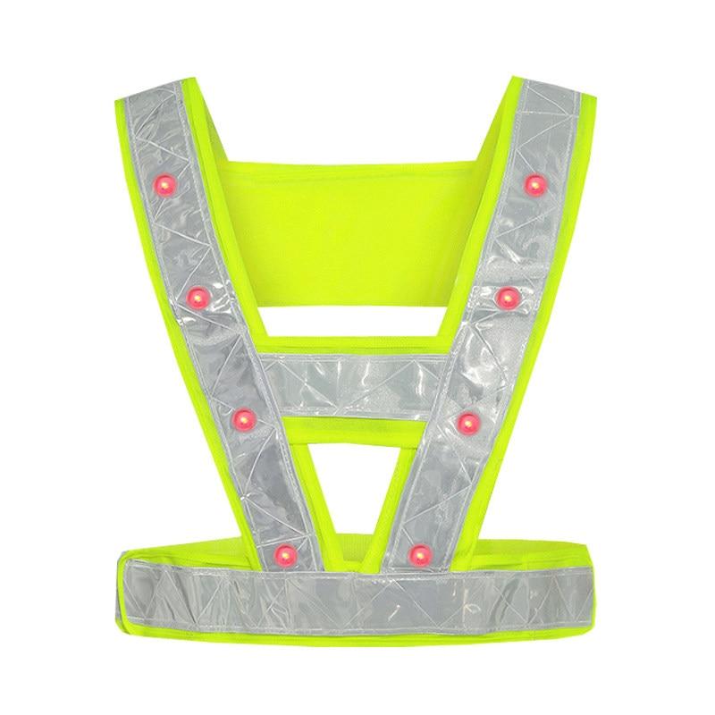 Safety Led Vest Reflective Led Vest Safety Vest Led Lights Fluorescent Yellow Vest With Led Lamps Free Shipping
