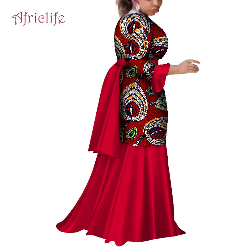 2019 African Dresses for Women Fashion Ankara Women Flare Sleeve Party Wedding Dress Dashiki African Print Long Dresses WY4103 in Africa Clothing from Novelty Special Use
