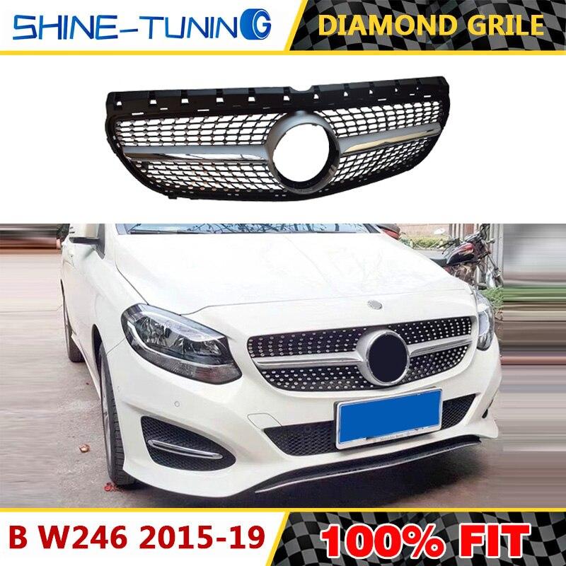Алмазная решетка черного и серебряного цвета для переднего бампера B Class W246 GT решетка 2015-2018 B180 B200 B250 B220 автостайлинг