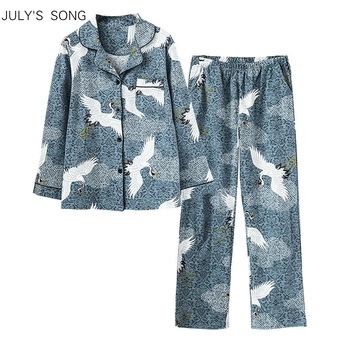 JULY'S SONG 2 Pieces Crane Women Pajamas Set Cotton Animal Lapel Elegant Printing Soft Long Sleeve Spring Autumn Sleepwear - discount item  48% OFF Women's Sleep & Lounge