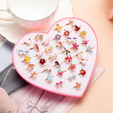 36 1-box cartoon children's rings lovely beautiful alloy mixed color rings