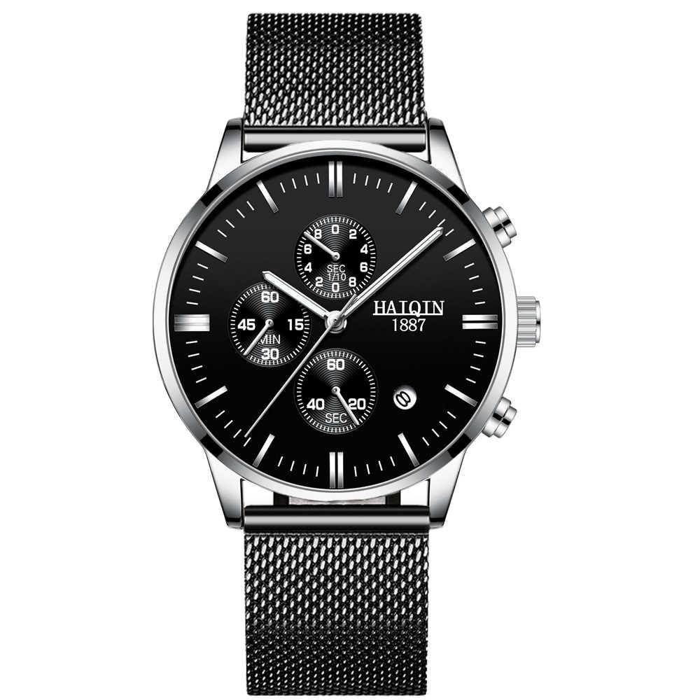 HAIQIN リロイ hombres メンズ腕時計トップブランドの高級クォーツ時計スポーツ腕時計男性黒メッシュベルト Mliltary 時計ファッション 2019