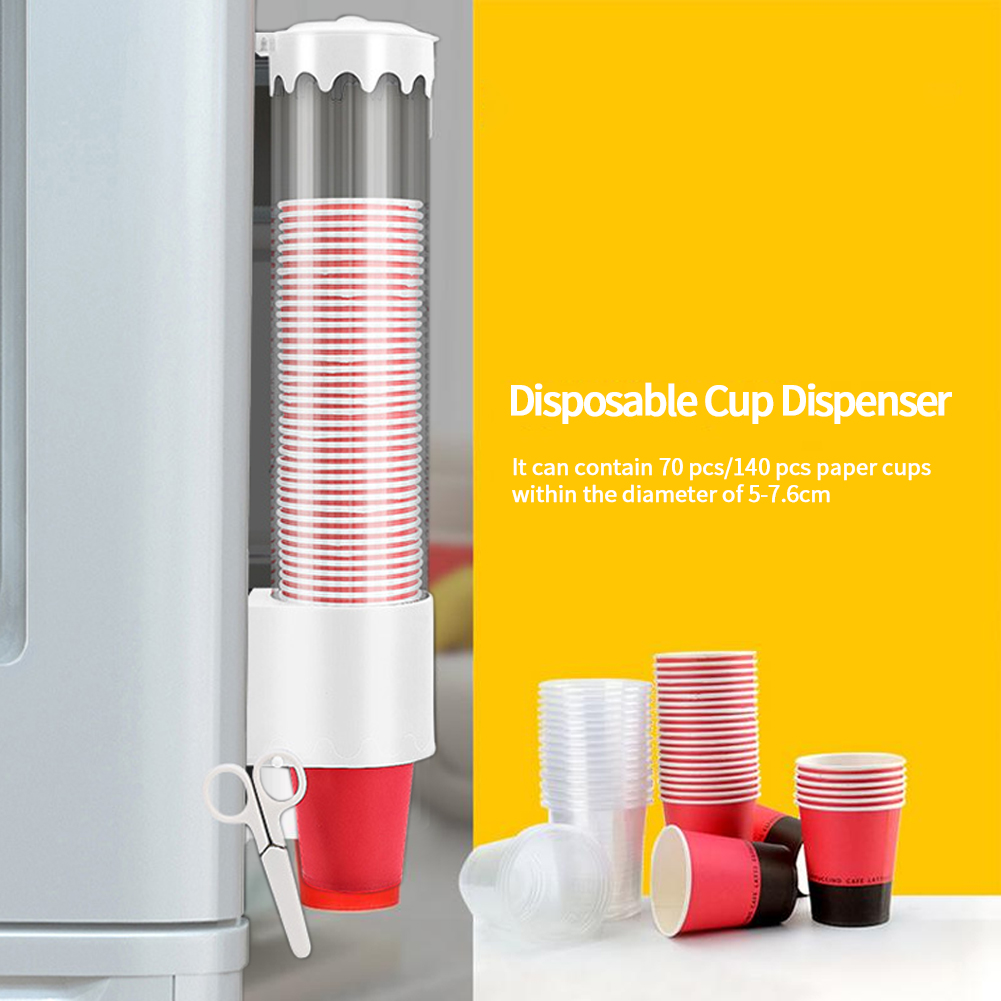 Wall Mounted Shelf Large Capacity Space Saving Disposable Cup Dispenser Home Office Automatic Holder Storage Rack Self Adhesive
