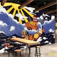 Rétro nostalgique Ukiyo-e vagues papier peint Mural pour Cuisine japonaise Sushi Restaurant décor industriel fond papier peint 3D