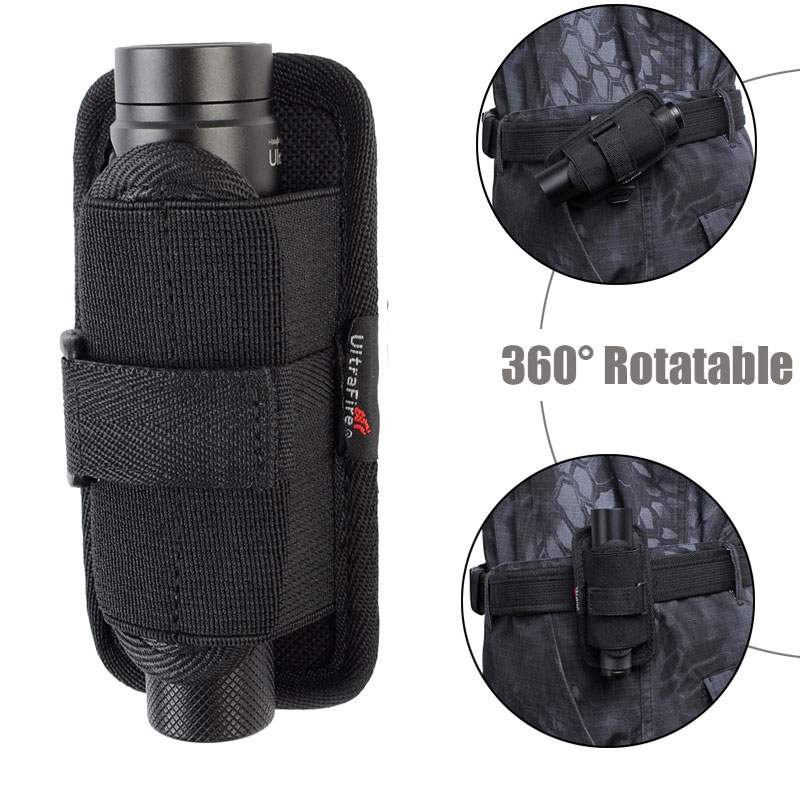 Tactical Molle Flashlight Pouch Flashlight Holster 360 Degree Rotatable Belt Carry Case Torch Holder 7 Types Hunting Accessories