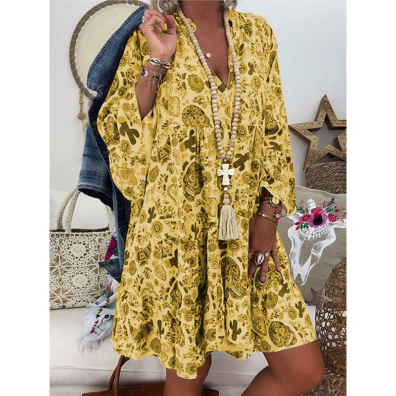 2020 Summer Printed Button Detail Blouse Women Casual V Neck Long Sleeve Tunic 5XL Plus Size Loose Womens Tops And Blouses
