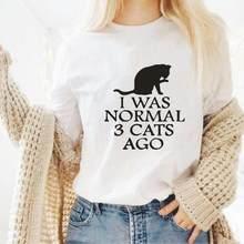 Eu estava normal 3 gatos ago, camiseta gráfica, tumblr hipster, algodão, tops, preto, branco, harajuku, camiseta feminina ao ar livre camisas femininas