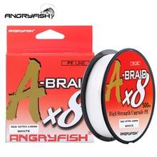 Angryfish EEN Vlecht X8 Vislijn 527YDS/500M 8 Strengen Gevlochten Lijn Multifilament PE Lijn 8 weeft Sterke Gevlochten Draad