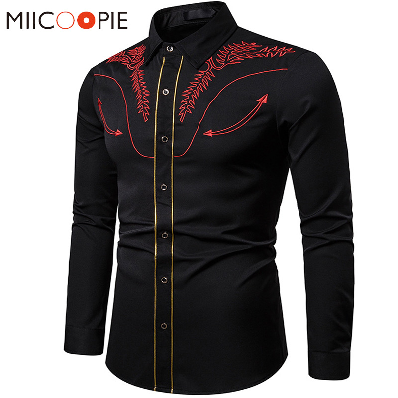 Fashion Floral Embroidered Shirts Men Dress 2019 Western Style Casual Business Long Sleeve Slim Formal Shirts For Men Streetwear