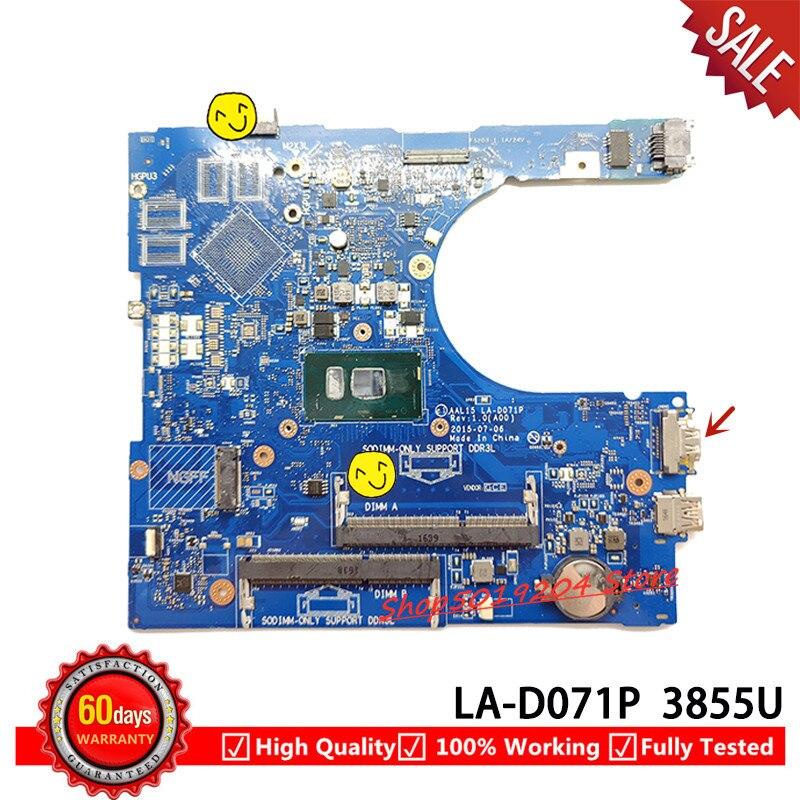 FOR Dell INSPIRON 15 5559 Laptop Motherboard AAL15 LA-D071P SR2EV 3855U DDR3L CN-0PW46V 0PW46V PW46V mainboard