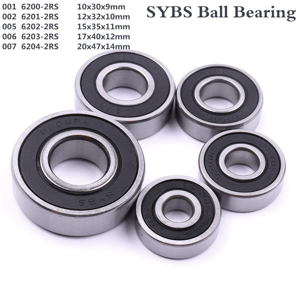 2pcs 12x32x10mm 6201-2RS Rubber Sealed Thin-Section Ball Radial Bearing 12*32*10