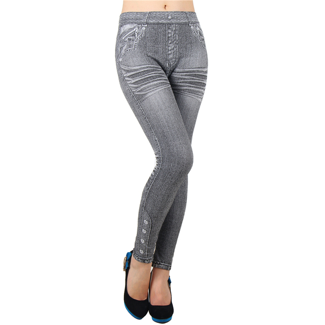 Leggings Jeans Mid Waist Ankle-Length Solid Fashion Feminina