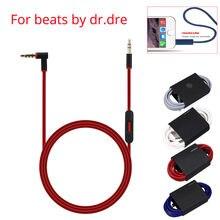 Cabo de substituição para batidas por fones de ouvido de dre solo/estúdio/pro 3.5mm a fio de cabo de áudio masculino de 3.5mm com microfone em linha
