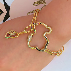 Women Fashion Bear Bracelet Simple and Generous Hollow Copper Zircon Jewelry Best Gifts for Friend