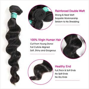 Image 3 - Ali Grace Hair Brazilian Loose Wave Hair  3 Bundles With 5x5 Lace Closure Human Hair 100% Remy Hair Middle Free Part