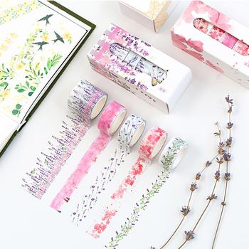 5 Pcs/Box Beautiful Flower Washi Tape DIY Decoration Scrapbooking Planner Masking Tape Adhesive Tape Label Sticker Stationery 1