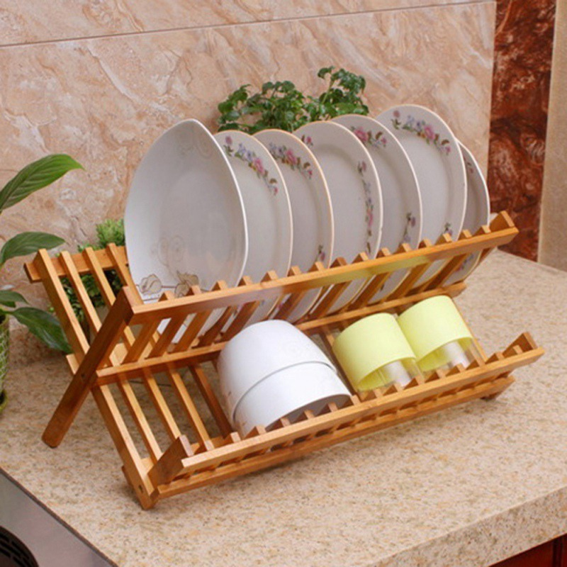 Bamboo Kitchen Storage Rack Folding Dish Rack Foldable Dish Drainer Plate Holder Kitchen Tools|Spoon Rests & Pot Clips| |  - title=
