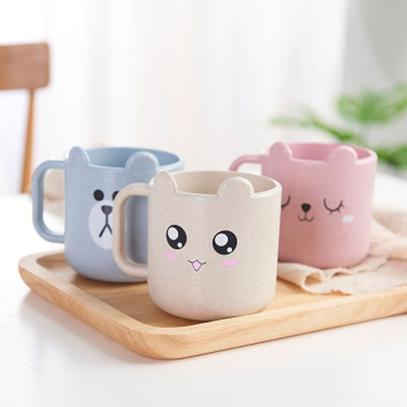 Kids Children Infant Baby Milk Cup With Handle Breakfast Mug Drink Home Cup Cartoon Training Cup