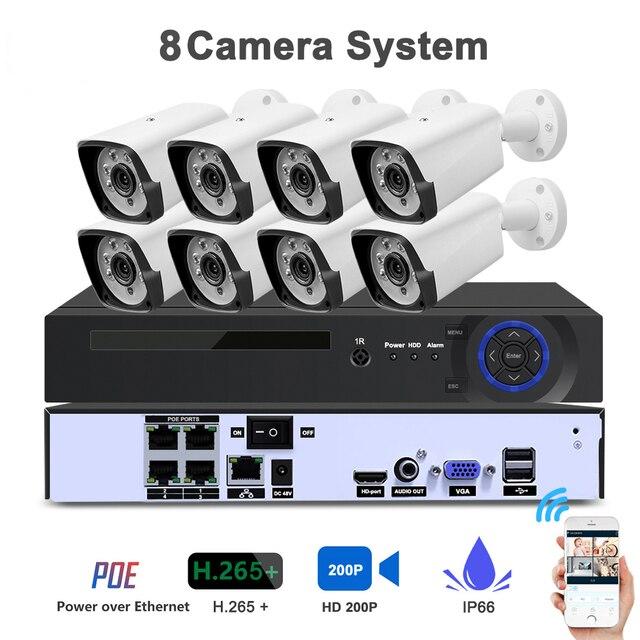 4CH 1080P HDMI POE NVR Kit CCTV Security System IR Outdoor Audio IP Camera P2P Video Surveillance IP66 Waterproof Set
