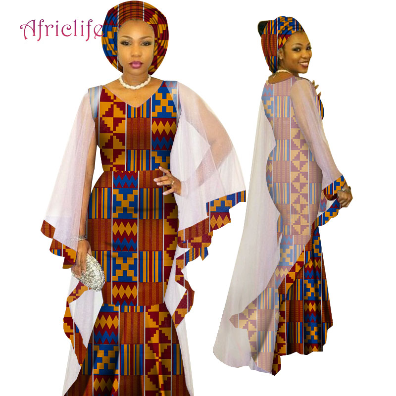 WY4624 Newest African Traditional Ethnic Style Women Clothing Ankara African Print Fashion Dresses March Headwrap