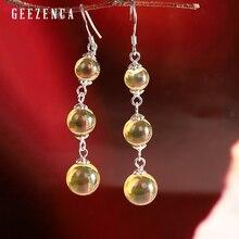 925 Sterling Silver Blue Amber Drop Earrings For Women Original Design Trendy Vintage Gemstone Dangle Earring Fine Jewelry Gift