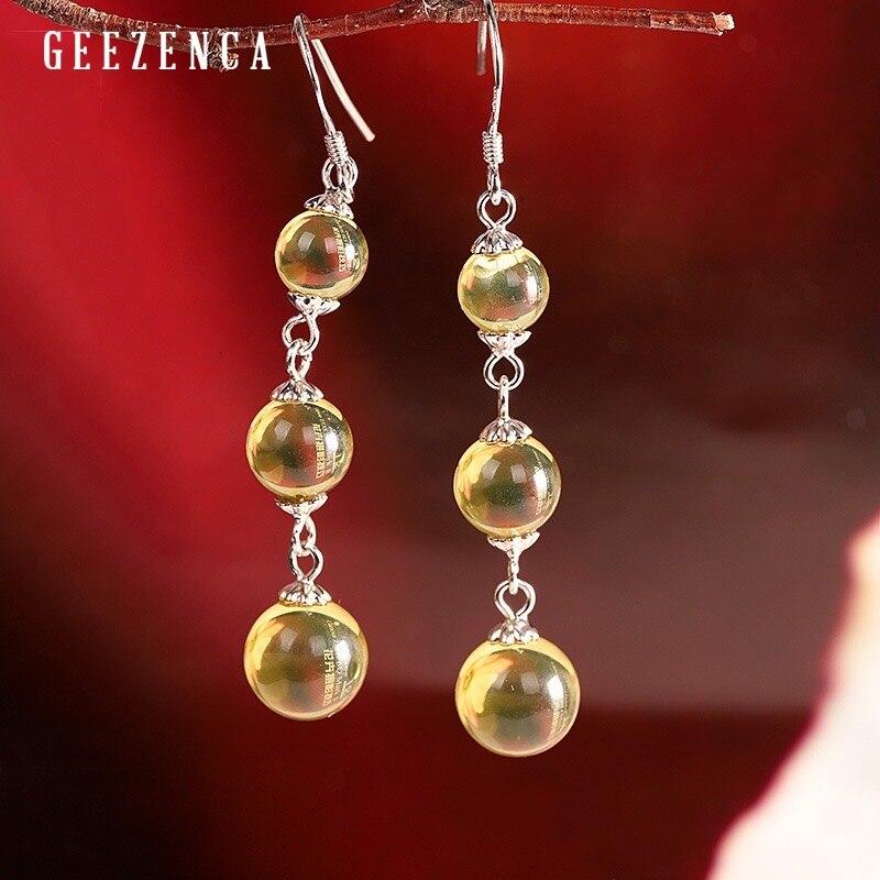 925 argent Sterling bleu ambre boucles d'oreilles goutte pour les femmes Design Original à la mode Vintage pierres précieuses balancent boucle d'oreille Fine bijoux cadeau