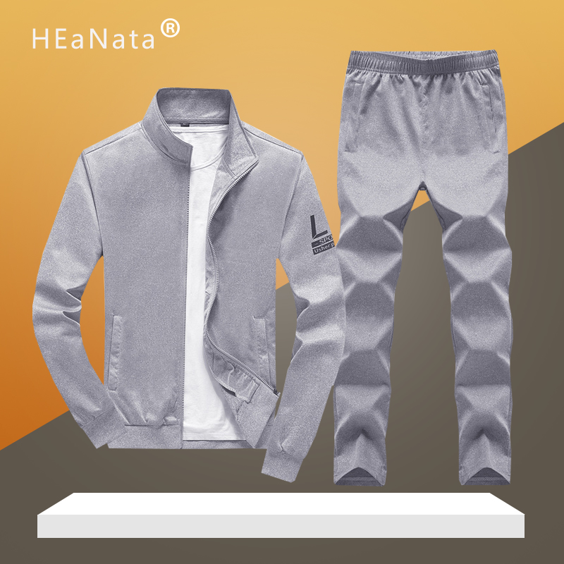 Solid Color Sportwear Men Two Pieces Tracksuit Sets 2019 Autumn Spring Casual Men's Brand Clothing Slim Fit Workout Track Suits