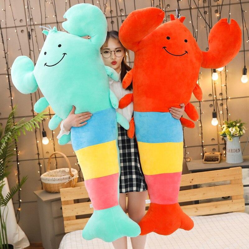Mignon dessin animé couleur homard poupée jouets en peluche bande souple crevettes pyjama oreiller enfants poupée