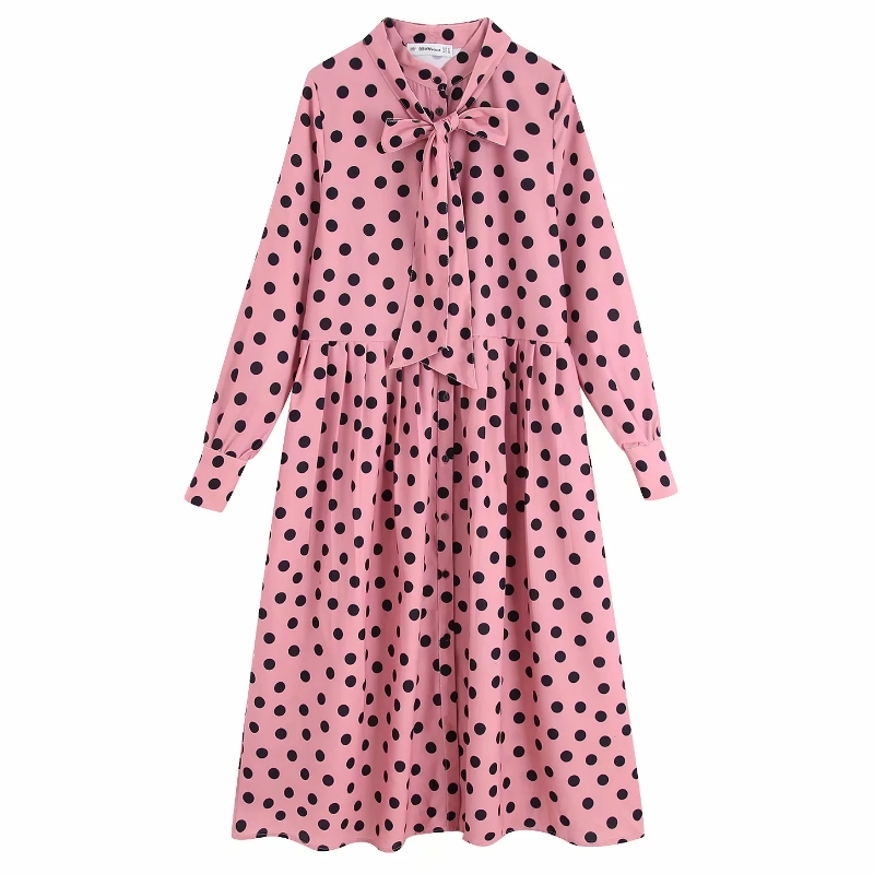 Autumn Women O Neck Long Sleeve Bow Decoration Dress Ladies Polka Dots Printing Casual Pleated Midi Dresses Chic Vestidos DS2839