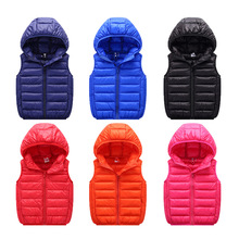 Boys Girls Vest Hooded Child Waistcoat Children Outerwear Winter Coats Kids Clothes Warm Cotton Baby Vest For Age 3-14 Years