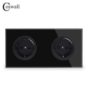 Image 2 - Coswall panneau en verre trempé pur, 16a, prise électrique murale Double normes ue, sortie au sol avec serrure de protection pour enfants