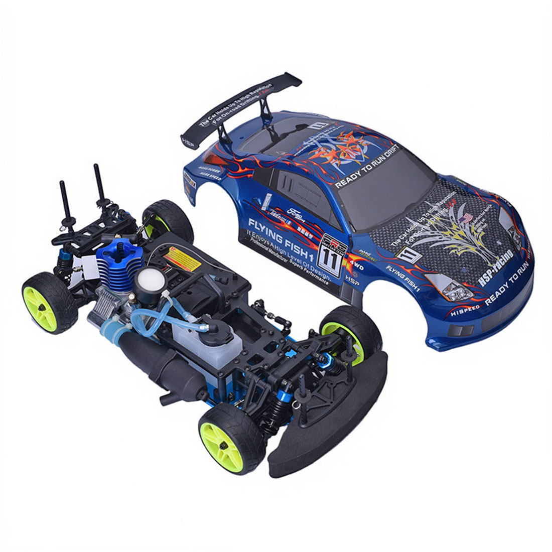 New Hot HSP 94122 1:10 4WD Methanol Fuel Powered RC Drift Car (No Need To Assemble)