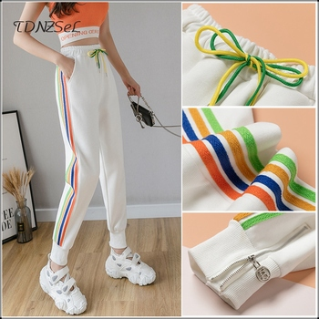 Women Casual Sweatpants Side Colour Striped Harajuku Joggers Drawstring Elastic Waist Sport Pants Streetwear Korean Trousers New