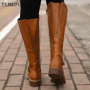TEMOFON big size over the knee boots women PU leather sex Vintage winter long boots female shoes women western shoes HVT1386