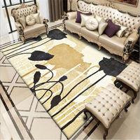Area Rug for Living Room Nordic Black Gold Flower Pattern Thick Carpet Rugs for Children Rooms Bedroom Rug Hand Wash