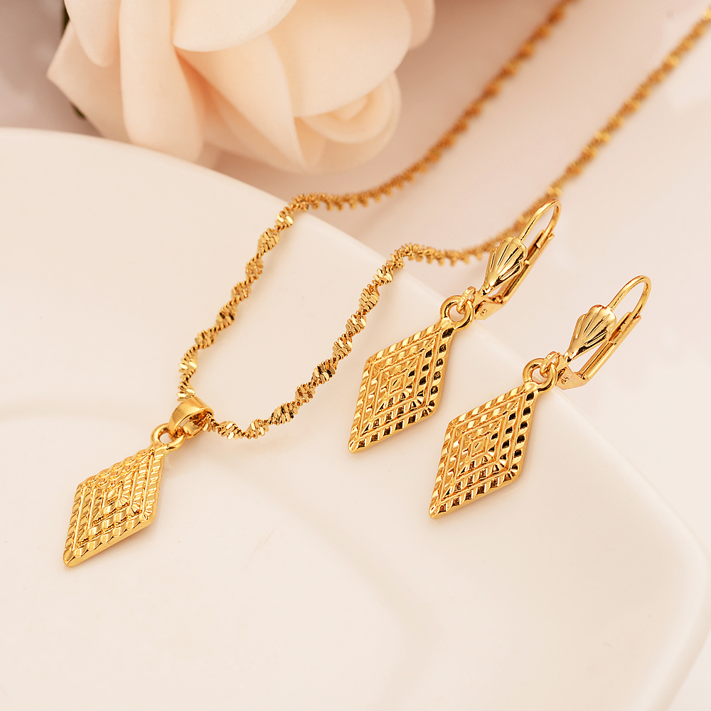 Bangrui New african Gold Color Women Jewelry Romantic Wedding Jewelry Sets Square geometric pendant earrings girls kids gift