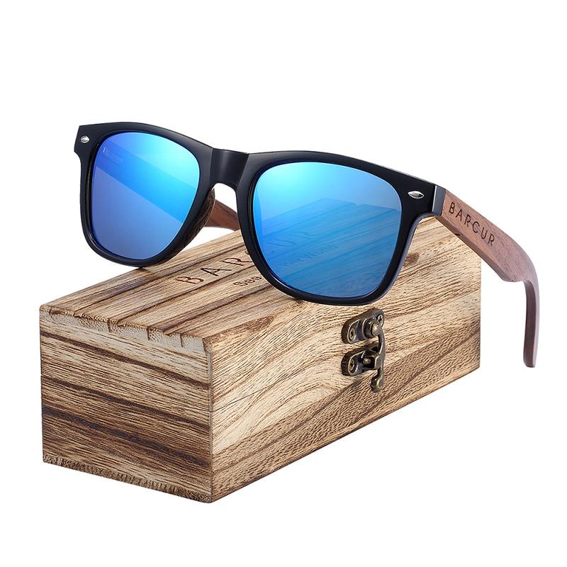 BARCUR Black Walnut Polarized Sunglasses For Men UV400 Protection Wooden Original Box