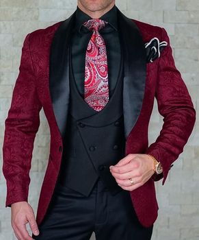 SZMANLIZI Mens Wedding Suits 2019 Italian Design Custom Made Black Smoking Tuxedo Jacket 3 Piece Groom Terno Suits For Men 1