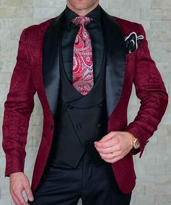 SZMANLIZI Mens Bruidskostuum 2019 Italiaanse Ontwerp Custom Made Zwart Rokende Tuxedo Jacket 3 Stuk Bruidegom Terno Suits Voor Mannen