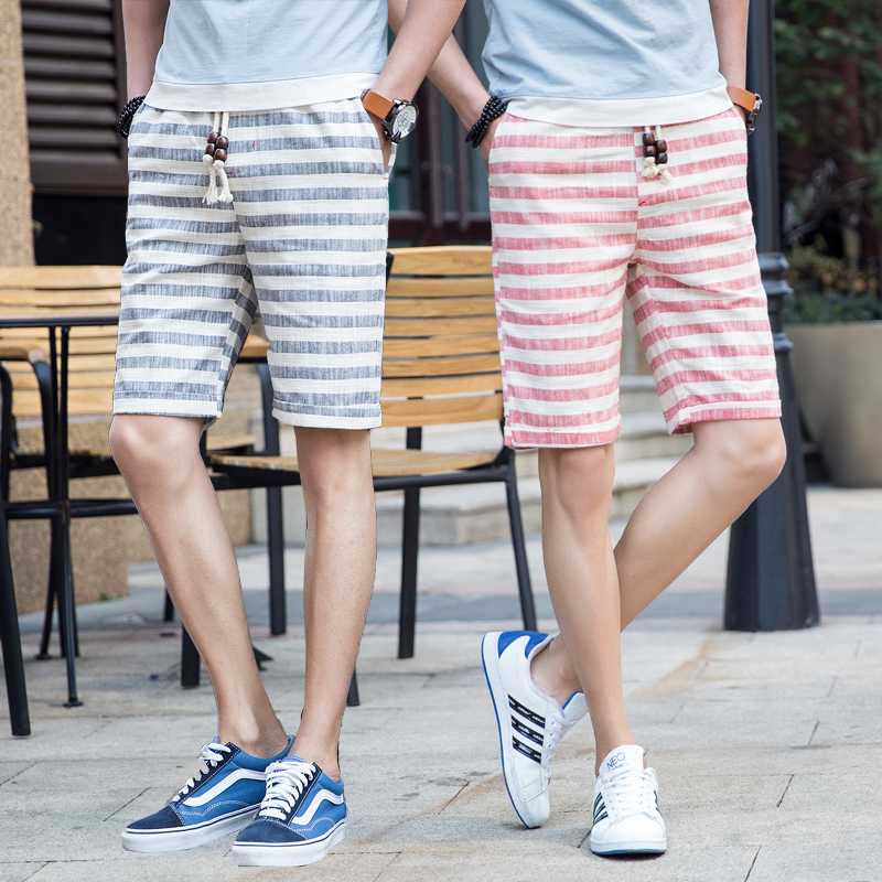 2019 Summer Wind Men's Linen Casual Shorts Men's Plaid Striped Linen Cotton Shorts Loose Casual Beach Shorts Mens Large Size 5XL