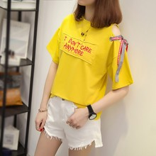 2019 Summer Casual Women's O-Neck Cotton Cold Shoulder Letter Embroidery Short Sleeve Lace Up Appliques Pullover T-Shirt letter embroidery lace up tee