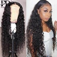 28 30 дюймов ломбер цветной 13x4 вьющиеся фронта шнурка человеческих волос парики глубокая волна парик лобной заранее собрала для чернокожих женщин Реми волна воды
