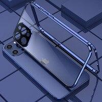 360 magnetische Adsorption Metall Fall für iPhone 12 Mini 12 11 Pro XR X XS Max Doppelseitige Glas Abdeckung kamera Objektiv Protector Film