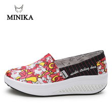 MINIKA Canvas Print Women Swing Shoes 2018 New Arrival Height Increasing Shoes Health Slip-On Shoes Comfort Women Toning Shoes