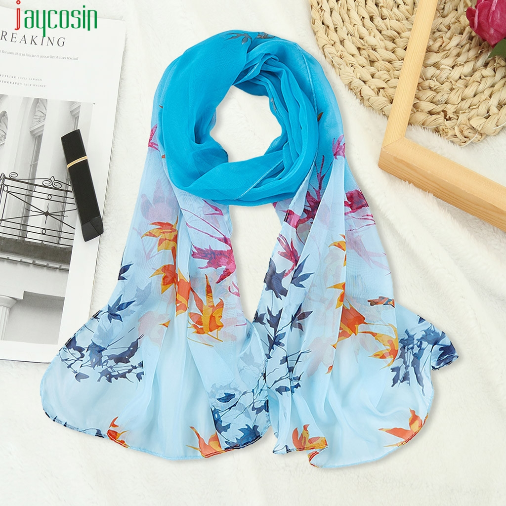 Jaycosin Women Chiffon Scarf Maple Leaf Printed Long Beach Towel Shawl Elegant Beautiful Windproof Scarf Bufanda Caliente