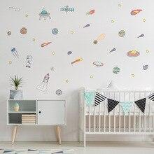 Funlife Cartoon Space Rockets Astronaut Wall Decal Sticker,Transparent PVC Kids Room kindergarten Mural Wall Decor,Children Gift